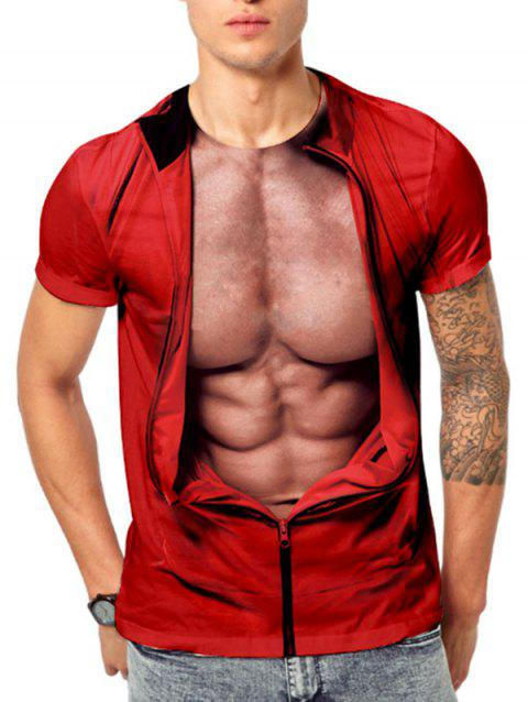 3D Muscle Jacket Print Funny Short Sleeve T-shirt - RED XL