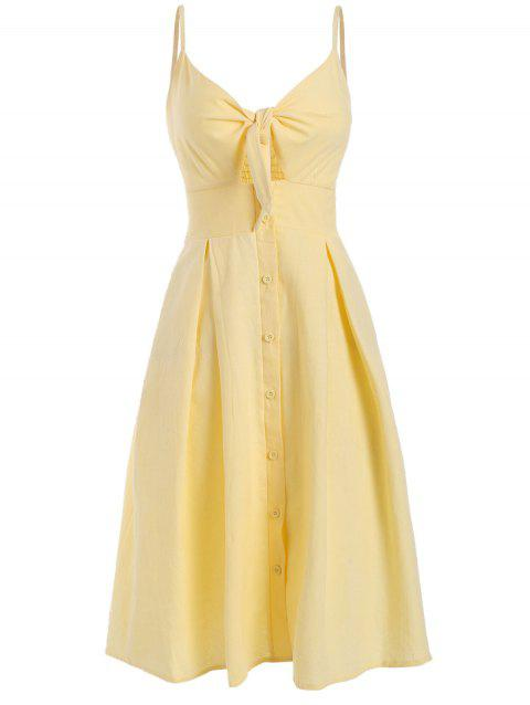 Smocked Tie Front Buttoned Cami Dress - YELLOW M