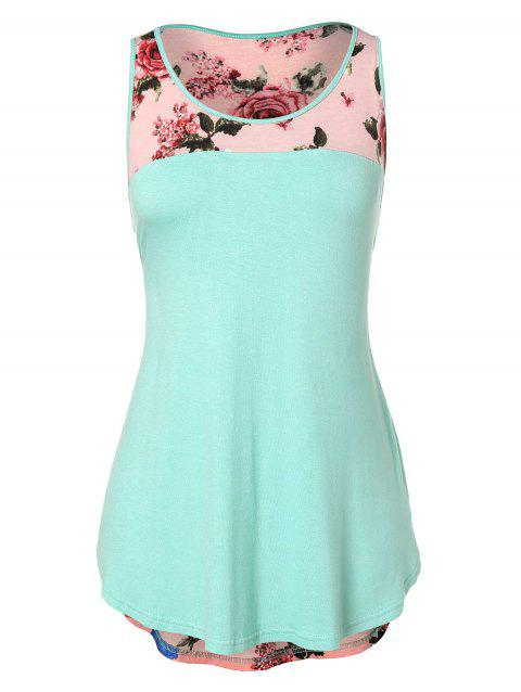 Floral Print Plus Size Round Neck Tank Top - MINT GREEN 1X