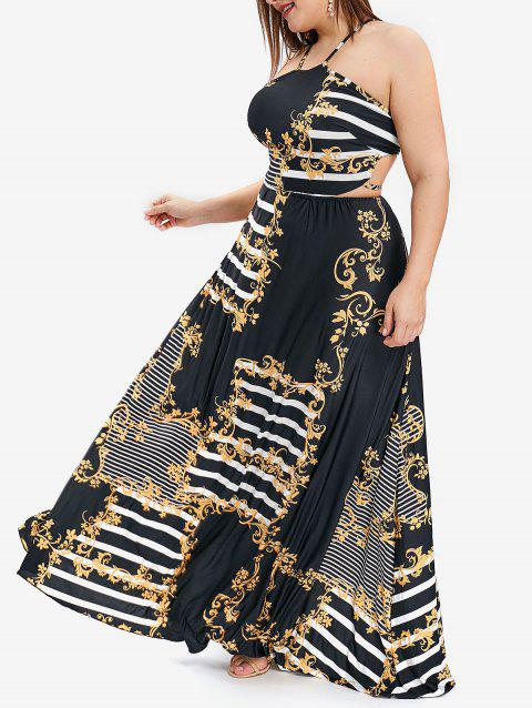 Plus Size Striped and Floral Print Halter Maxi Dress