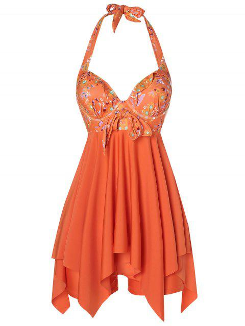 Daisy Printed Empire Waist Handkerchief Tankini - PAPAYA ORANGE M