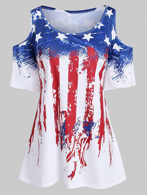 Plus Size American Flag Flare Sleeve T Shirt - WHITE L