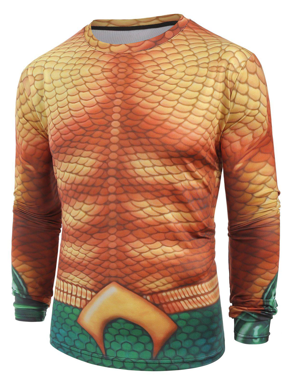 Fish Scales Print Casual Long Sleeves T-shirt - multicolor XS