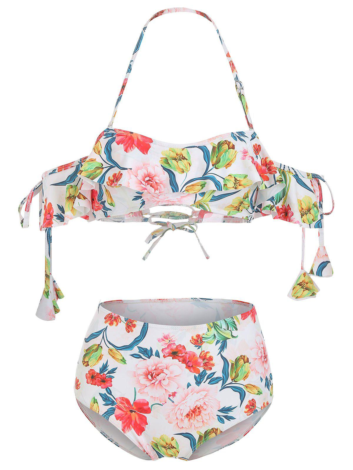 Off Shoulder Floral Ruffled Lace Up Bikini Set - multicolor XL