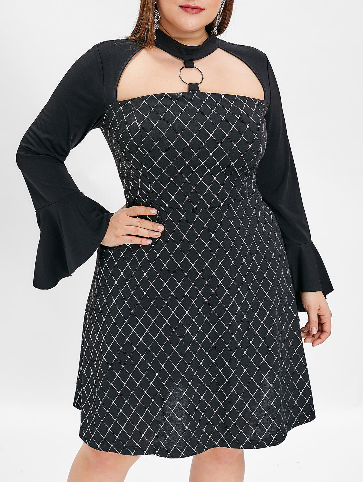 Plus Size Flare Sleeve Shining Print A Line Dress - BLACK 1X