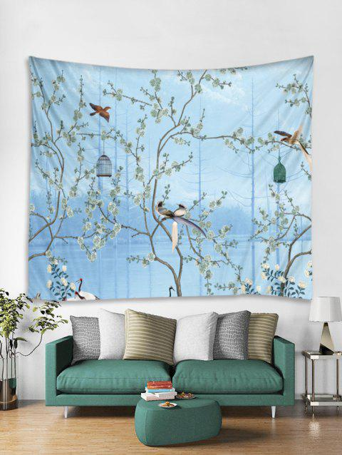 Flower Tree and Birds Print Tapestry Wall Hanging Art Decoration - JEANS BLUE W51 X L59 INCH