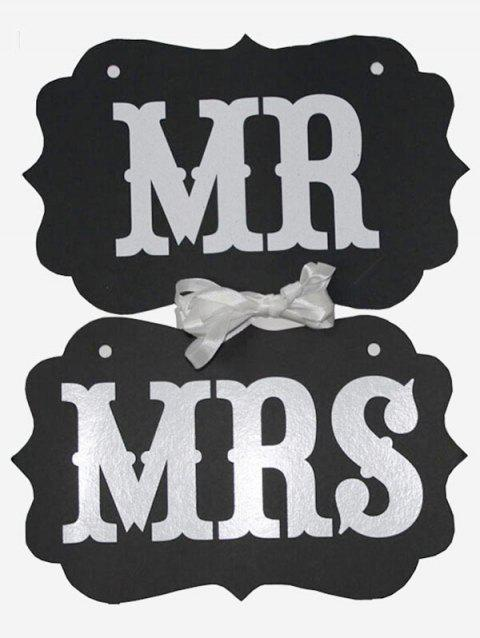 MR And MRS Pattern Hanging Chair Signs - BLACK