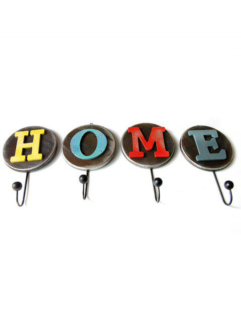 Wall Hanging HOME Letters Pattern Single 4Pcs Hooks - multicolor A