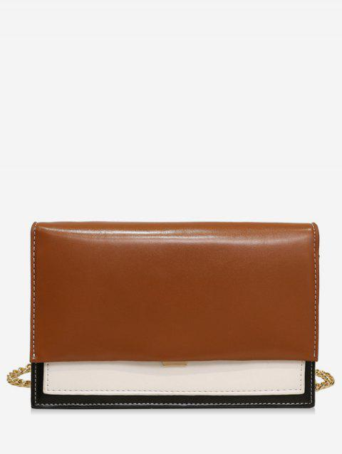 Simple Style Leather Small Shoulder Bag - BROWN