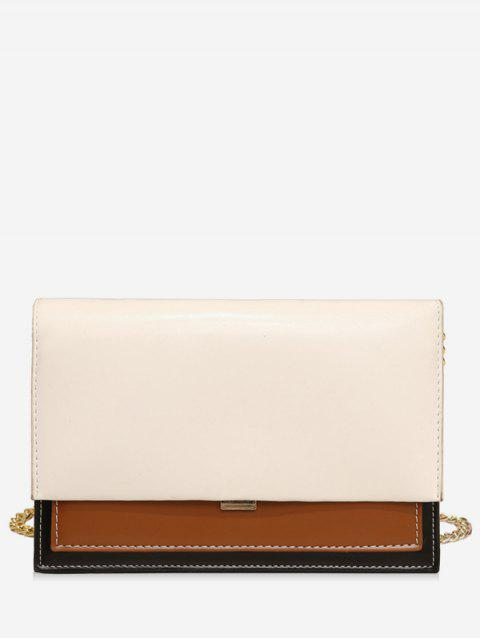 Simple Style Leather Small Shoulder Bag - WHITE