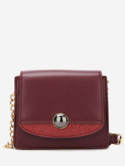 Small Leather Chain Shoulder Bag - RED WINE