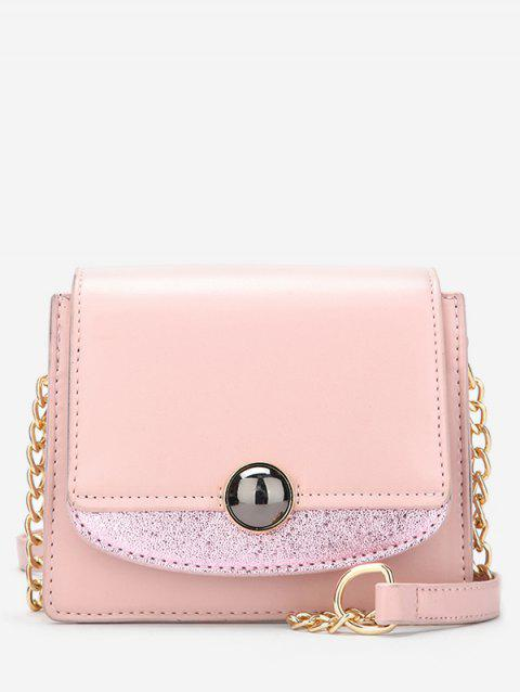 Small Leather Chain Shoulder Bag - PINK