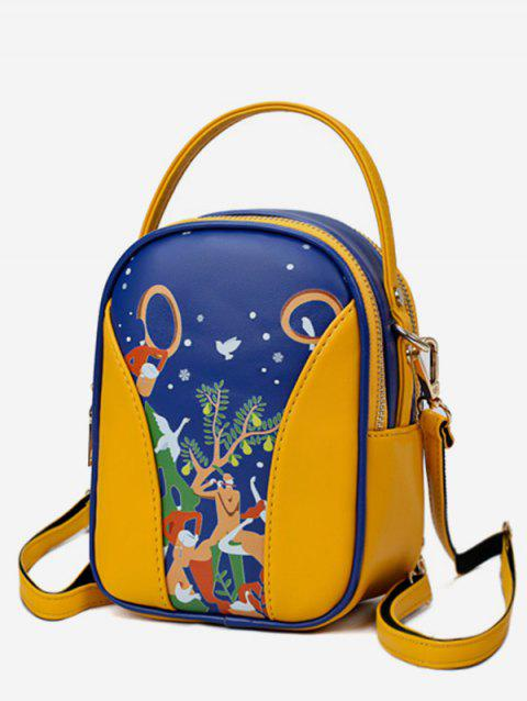 Forest Funny Pattern Top Handle Mini Backpack - GOLDEN BROWN