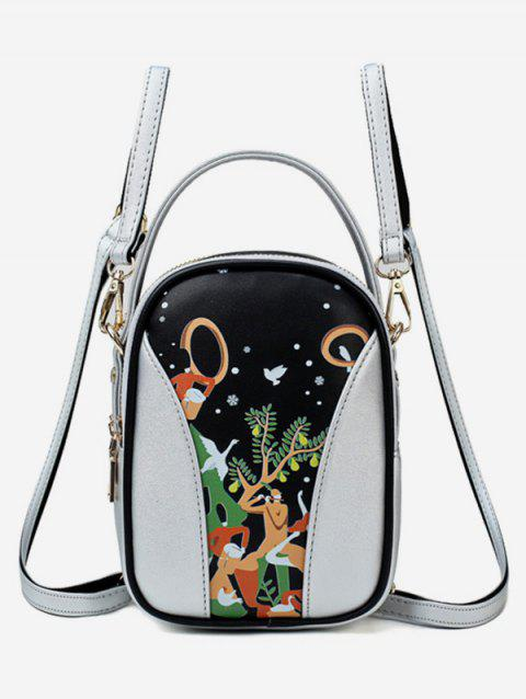 Forest Funny Pattern Top Handle Mini Backpack - SILVER