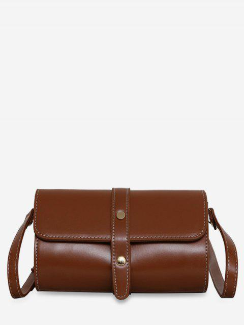 Accent Strap Flap Crossbody Bag - BROWN