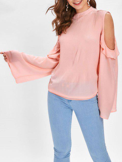 Flounce Pleated Blouse with Cold Shoulder - LIGHT PINK L