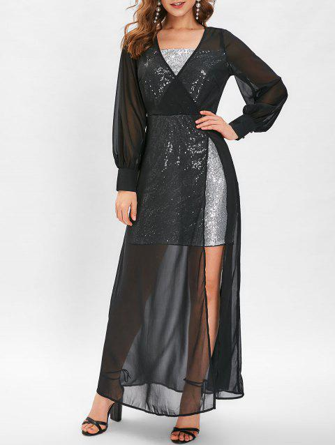 Sequins High Slit Sheer Maxi Dress - BLACK L