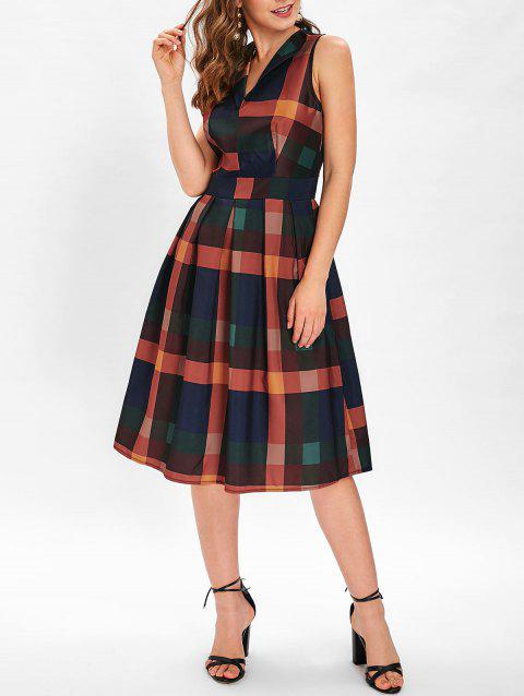 Sleeveless Checked Print A Line Dress - multicolor S