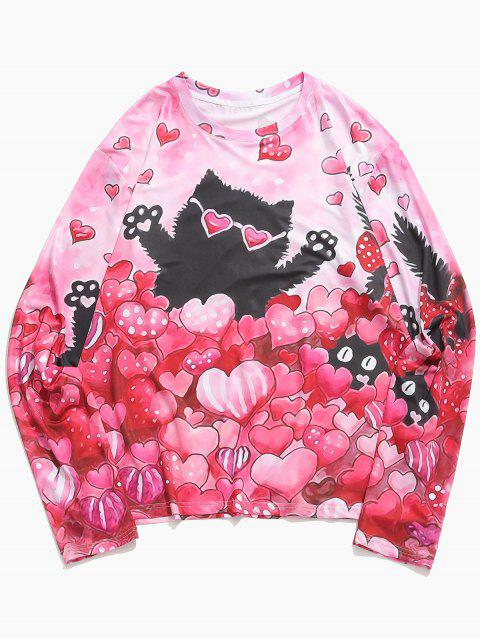 Valentine's Day Hearts Cat Print Casual T-shirt - FLAMINGO PINK S