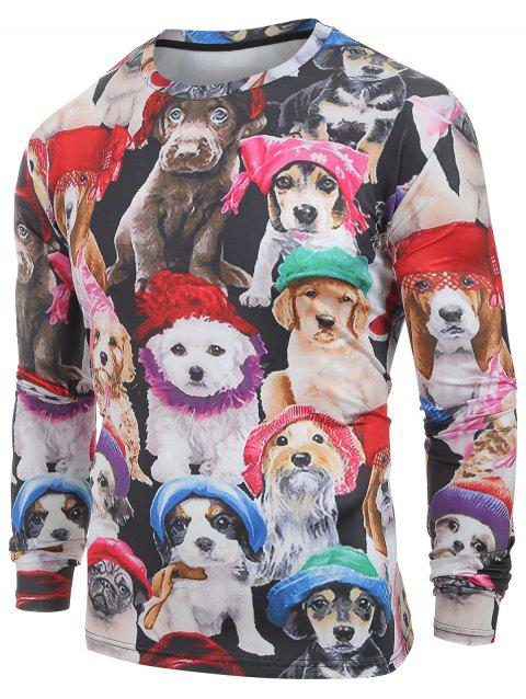 Long Sleeves Cats with Caps Print Casual T-shirt - multicolor S