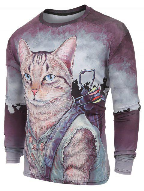 Long Sleeves Cats Print Casual T-shirt - multicolor L