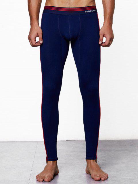 Close-fitting Solid Color Long Johns - NAVY BLUE 2XL