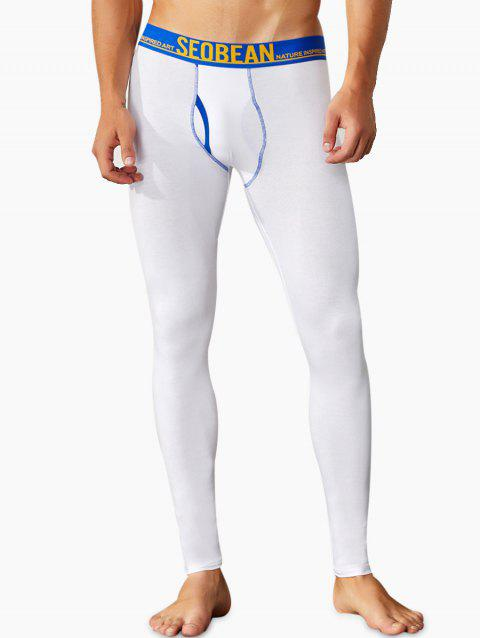 Solid Color U Pouch Design Tight Long Johns - WHITE 2XL