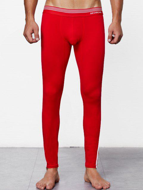 Close-fitting Solid Color Long Johns - RED L
