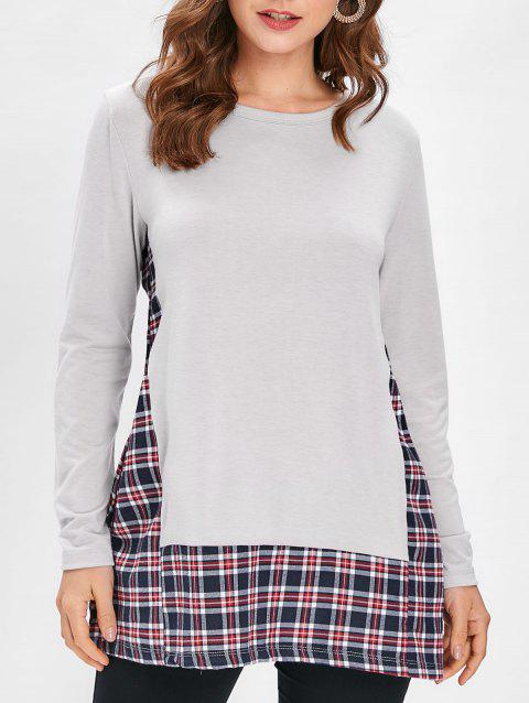 Checked Panel Round Neck Top - GRAY L