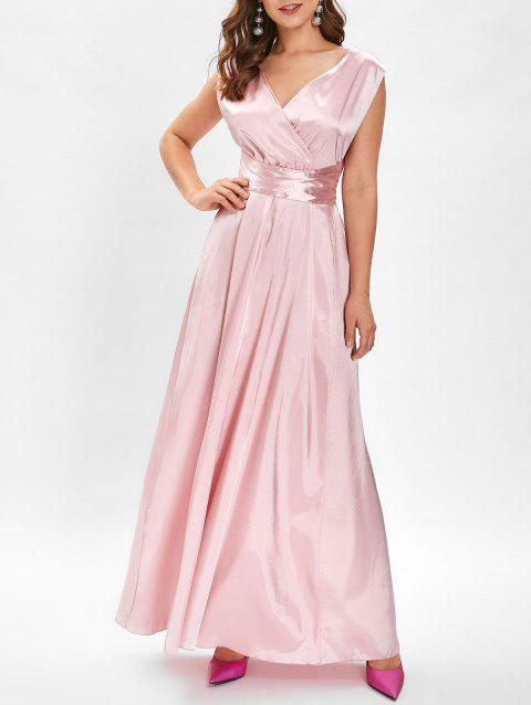 Open Back Criss Cross Maxi Prom Dress - PIG PINK XL