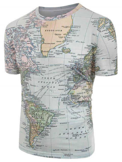 Short Sleeves World Map Print Round Neck Shirt - multicolor L