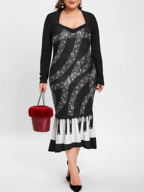 Plus Size Sweetheart Neck Music Note Print Party Dress - BLACK 2X