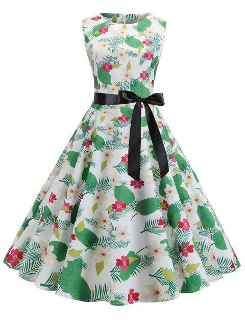 Belted Floral Leaf Flare Vintage Dress - multicolor 2XL