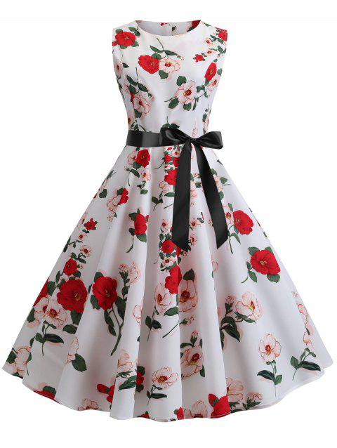 Retro Floral Belted A Line Dress - WHITE L