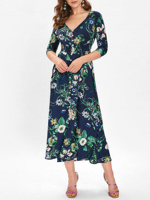 Bohemian Buttons Up Floral Midi Dress - MIDNIGHT BLUE S