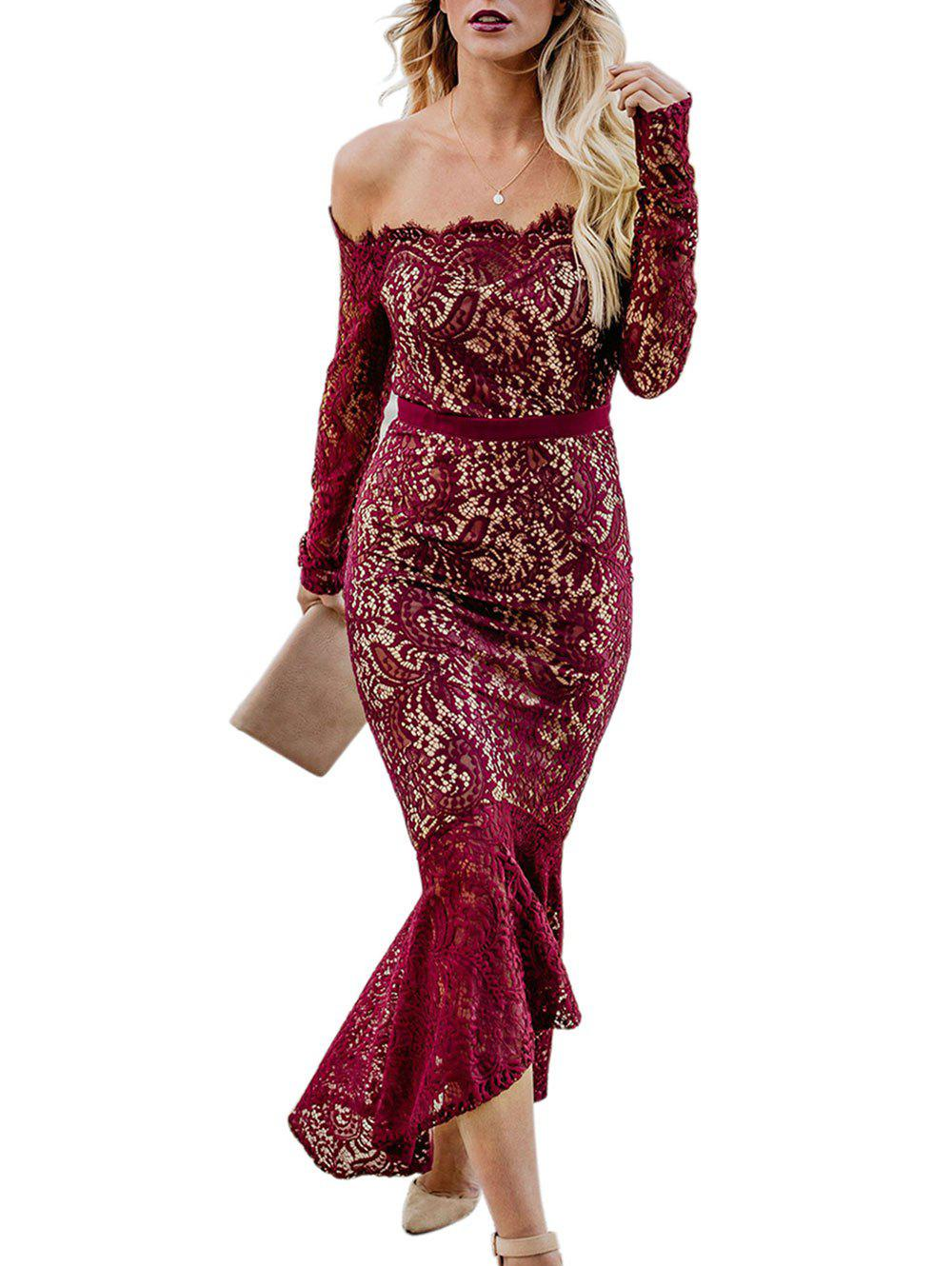 Long Sleeve Eyelash Lace Bodycon Dress - RED WINE XL