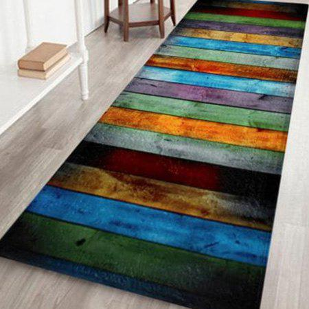 Velvet Colorful Stripe Large Area Rug - COLORMIX W24 INCH * L71 INCH