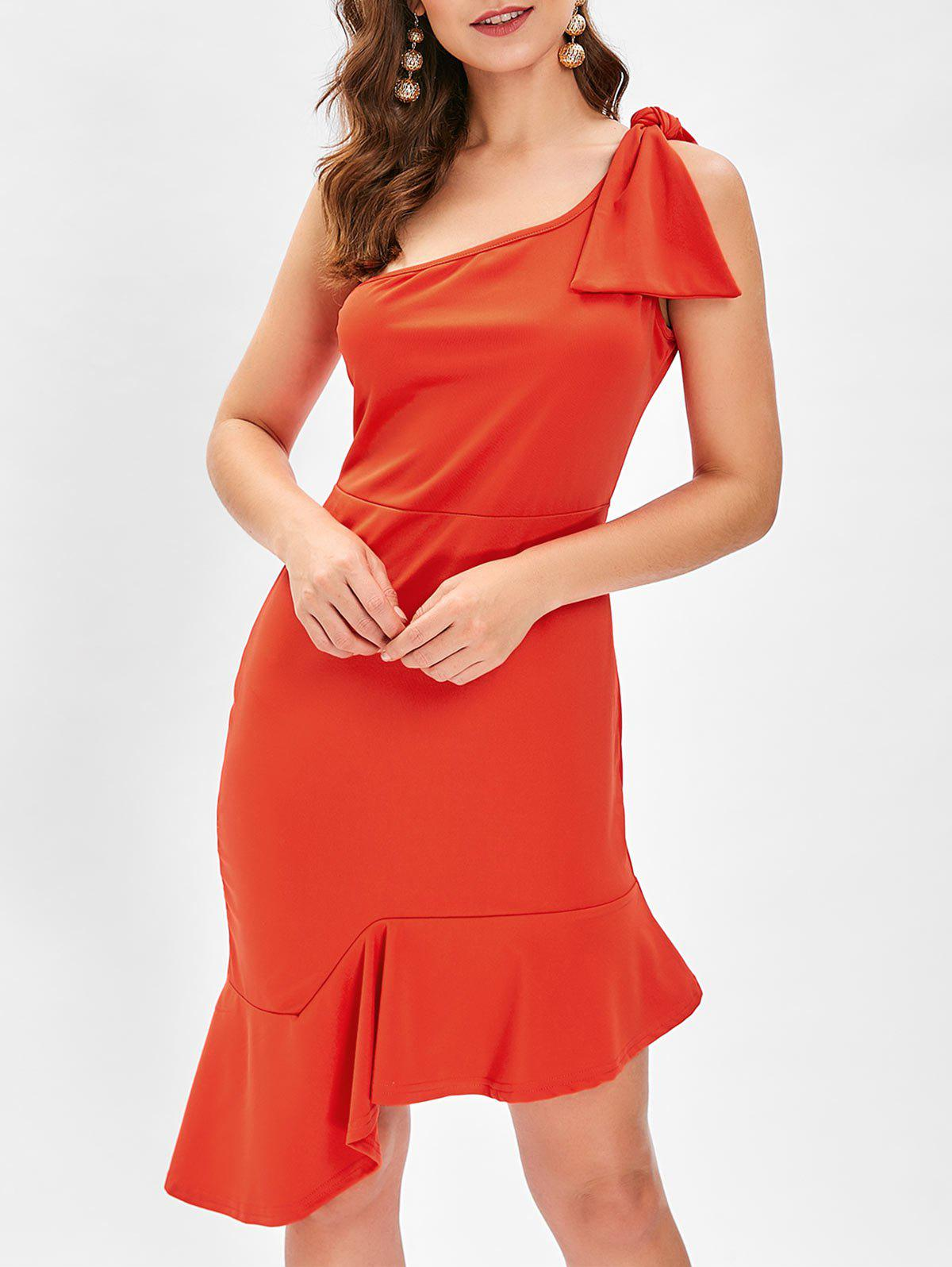 One Shoulder Bowknot Mini Bodycon Dress - RED S