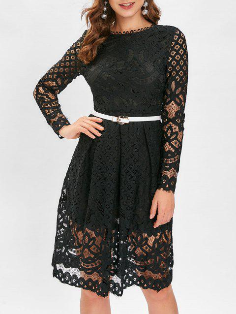 Belted Lace Midi Overlay Dress - BLACK L