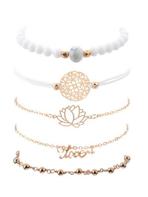 5Pcs Lotus Shape Hollowed Bracelet - GOLD