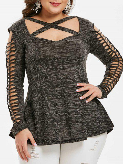 Plus Size Criss Cross Space Dye T-shirt - DARK GRAY 2X