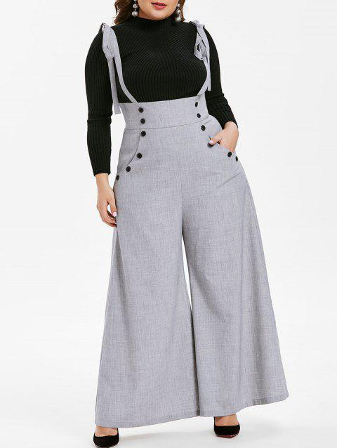 Plus Size High Waist Button Wide Leg Pants - GRAY 3X