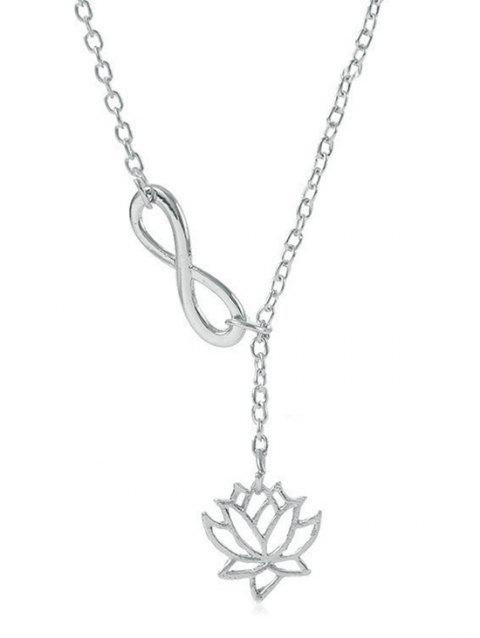 Hollow Lotus Infinity 8 Shape Lariat Necklace - SILVER