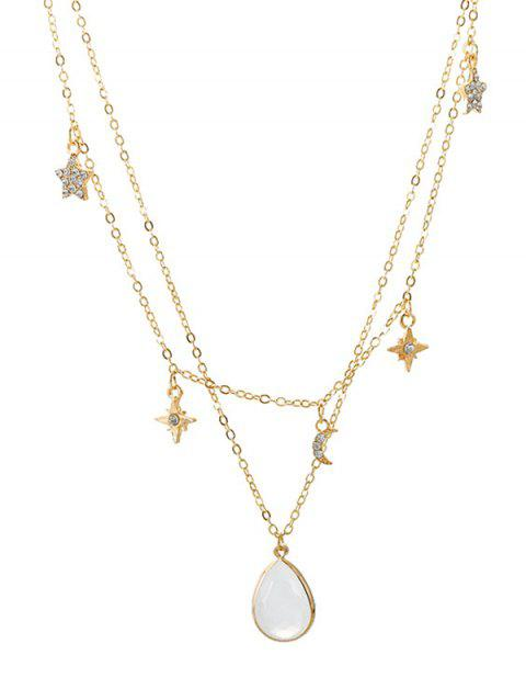 Stars Moon Faux Gems Rhinestones Layered Necklace - GOLD