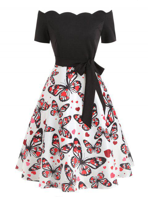 Off The Shoulder Butterfly Print Flare Dress - BLACK S