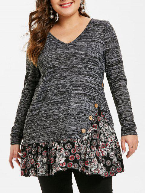 Plus Size Buttoned Mesh Splicing T-shirt - CARBON GRAY 1X