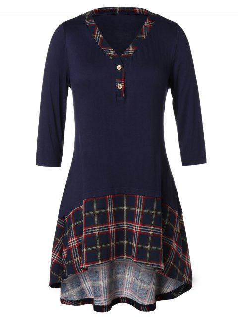 Plus Size Checked Panel High Low T Shirt - NAVY BLUE 2X