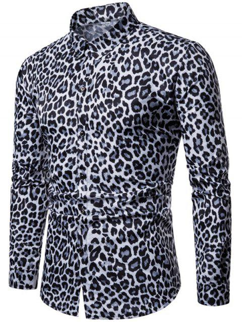 Leopard Print Casual Long Sleeves Shirt - LIGHT SLATE GRAY L