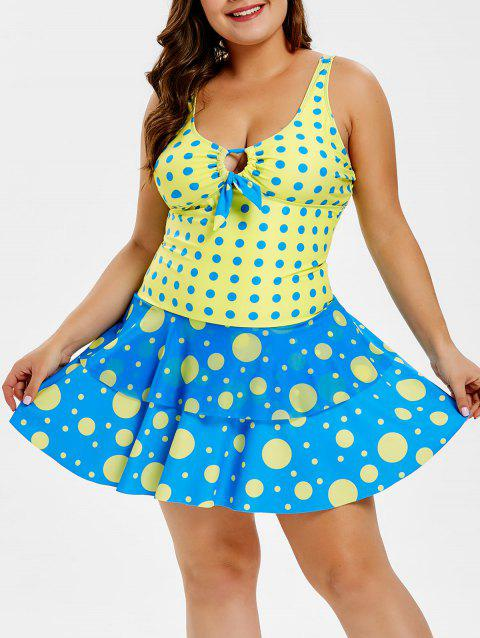 Plus Size Polka Dot Layered Flounce Panel Swimwear - multicolor A 4X