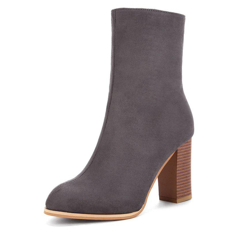 Almond Toe High Heel Boots - GRAY 42